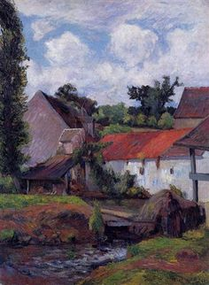 """""""Farm in Osny""""  --  1883  --  Paul Gauguin  --  French  --  Oil on canvas  --  Private Collection."""
