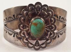 US $265.00 Vintage Navajo Indian Sterling Silver Turquoise Stampwork Bracelet Cuff
