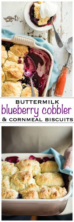 Blueberry cobbler with buttermilk cornmeal biscuits. The perfect dessert for fall and so easy to make - Foodness Gracious