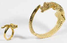 Lot 200: 14k Gold Hinged Crocodile Bracelet and Snake Ring; Italy, both having stamped marks
