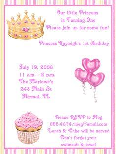princess birthday party invitation wording  kids birthday, party invitations