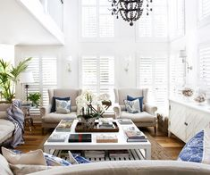 A clear vision turned a waterside home into an elegant Hamptons-style family abode – learn how this interior designer worked her magic. Die Hamptons, Hamptons Style Decor, Cute Living Room, Home And Living, Living Room Decor, Estilo Hampton, Deco Marine, Estilo Interior, White Shutters