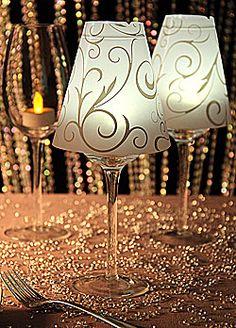 Wine Glass Vellum Swirl Decor Lamp Shade - Set of 12