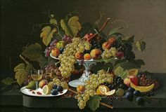 Severin Roesen - Still Life of Fruit and Wine on a Table