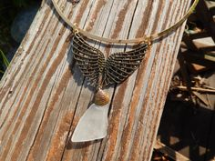 Sea Glass White on Gold Tone Choker with Antiqued by Deesshoppe, $17.00