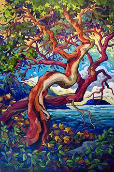Celebrating 44 years in Canadian art Landscape Art, Landscape Paintings, Landscapes, Arbutus Tree, Art Watercolor, Canadian Art, Art Plastique, Tree Art, Art Techniques