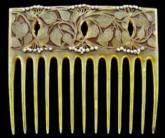 HENRI VEVER, Art Nouveau Comb | Carved horn in a foliate pattern  heightened with colour & decorated with seed pearls. c1900