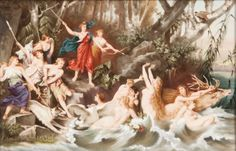 "KPM porcelain plaque of ""Diana"" ~ With Actaeon ~ As a stag pursued by the goddess and his hounds ~ Origin Germany ~ Circa 1875-1885"