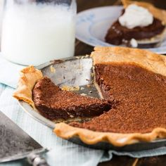 Chocolate Chess Pie by Spicy Southern Kitchen:  I made this pie for Thanksgiving 2015, it was wonderful and will be a new favorite for the holidays!!