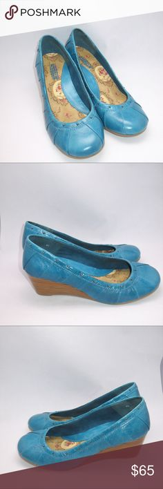 Seychelles Turquoise Studded Wedge Shoes Seychelles Turquoise Studded Wedge Shoes  *Very good condition. Some discoloration of the leather on the back of one shoe. Slight wear to the sole.  Details: Seychelles Color: Turquoise Size: 6.5 M Pleated camp Studded leather upper Rubber sole Padded foot bed 2 1/4 inch heel Anthropologie Shoes Wedges
