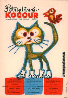 POTRESTANÝ KOCOUR - Czech animated film poster by František Ketzek, 1960