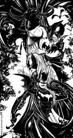 Batman - Batwoman - Batgirl by Nebezial
