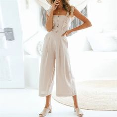 Sweet Plain Flouncing Slim Button Embellished Jumpsuit – ebuytide Jumpsuit Dressy, Jumpsuit Outfit, Summer Jumpsuit, Embellished Jumpsuit, Ootd Fashion, Womens Fashion, Floral Print Maxi Dress, Jumpsuits For Women, Beautiful Outfits