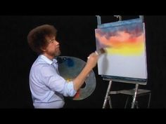 Purple, pink, and orange gradient sunset colors.  My wedding colors! Diy how to Bob Ross. :-) i just love this guy!   Bob Ross - Cabin at Sunset (Season 10 Episode 2) - YouTube