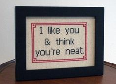 I like you and think you're neat  Framed Cross by bombastitch, $45.00