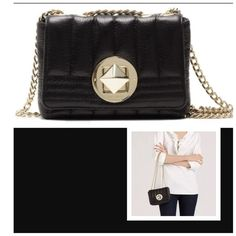 """Kate Spade Gold Coast Lily leather crossbody bag lightly worn. Black bag with gold details. Great condition!  Perfect for day or night, this is a quilted crossbody in foiled leather from kate spade new york. •12"""" to 23"""" drop •6.2""""W x 4.7""""H x 2""""D •Chainlink strap can be worn as single crossbody or double shoulder straps •Front flap with turnlock closure, interior pocket •Lined. Cowhide. Imported kate spade Bags Crossbody Bags"""