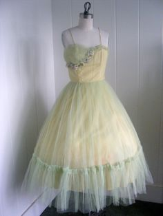 1950's Vintage Yellow and Sea Foam Green Tulle Party Dress.