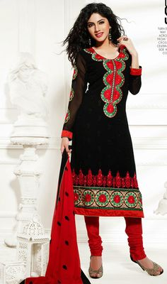 Dazzle yourself in black faux georgete semi stiched straight cut partywear suit. Suit features with butta patch work on neckline. Churidar Suits, Party Wear Sarees, Straight Cut, Dress Collection, Georgette Dresses, Short Sleeve Dresses, Fancy, Red, How To Wear