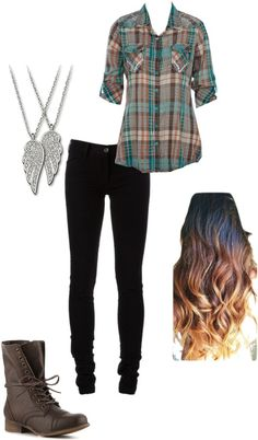 """Flannel, Angel Necklace, Combat Boots, Black Skinny Jeans, Ombre Curled Hair"""