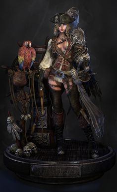 Pirate Female Picture  (3d, fantasy, girl, woman, pirate, parrot)