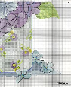 Cross stitch - flowers: Hortensia, roses and iris bouquet in a vase - cushion (chart - part B2)