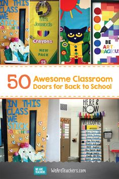 50 Awesome Classroom Doors for Back to School. Even if the fire marshal says it's a no go on the classroom door decorations then these can be great inspiration for a bulletin board! Kindergarten Classroom Door, Welcome To Kindergarten, Classroom Board, Classroom Decor, Welcome Door Classroom, Preschool Classroom Themes, Classroom Design, Music Classroom, Preschool Door Decorations
