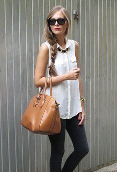 cute sleevless silk top w/ gem collar + Black skinnies and shades, tan bag.