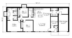 Ranch House Plan First Floor for Home Plan also known as the Grandale Berm Home from House Plans and More. Underground House Plans, Underground Homes, Ranch House Plans, House Floor Plans, U Shaped Houses, Earth Sheltered Homes, Narrow House Plans, House Plans And More, Cottage Plan