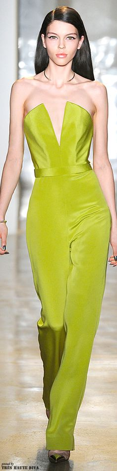 I want this in emerald green - Shocking Lime Sleek Silk Strapless Jumpsuit #NYFW Cushnie et Ochs Fall 2014 RTW