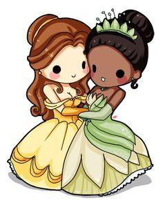 Chibi disney tiana and belle