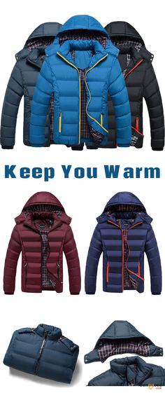 US$52.66 + Free shipping. Size: M~3XL. Color: Black, Blue, Dark Blue, Navy Blye, Wine Red. Fall in love with casual and warm style! Mens Thick Solid Color Winter Hooded Deatchable Coat Slim Warm Jacket. #coats #jackets #men #winter