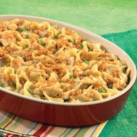 Hearty Chicken & Noodle Casserole  I will use cream of chicken instead of mushroom and add season bread crumbs on top
