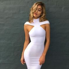 521c79293365 Stylish Women dress Sexy Bandage Turtle Neck Bodycon off shoulder Summ –  rricdress High Fashion Outfits
