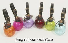 Here be some colorful round bottles to carry the any of yar favoritie potion. The color helps hid yar contents, but ye can see how much ye still have. Nice, simple n' affordable design, nothing fancy