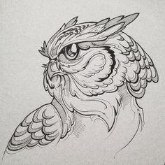 Quilling Design For Beginners Owl Tattoo Drawings, Bird Drawings, Art Drawings Sketches, Tattoo Sketches, Animal Drawings, Owl Tattoo Design, Tattoo Zeichnungen, Desenho Tattoo, Tattoo Stencils