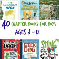 be a bit of a challenge to find chapter books for boys that are age-appropriate. Here's a list of 40 best chapter books for boys. Summer Reading Lists, Kids Reading, Teaching Reading, Reading Time, Reading Room, Books For Boys, Childrens Books, Kid Books, Kindergarten
