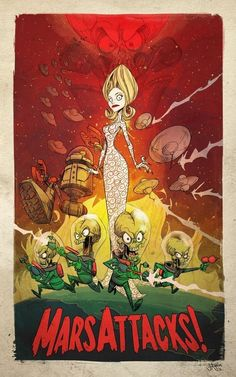I don't recall Mars Attacks being as much fun as this poster's style suggests. I mostly remember it being a late odd sorta movie. Not too surprising though given its a Tim Burton film :) PLANET-PULP // CELEBRATING PULP CULTURE: Mars Attacks