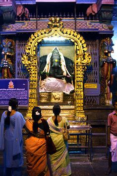 Sri Meenakshi Temple women try to go before marriage for blessings in madurai,southern india.