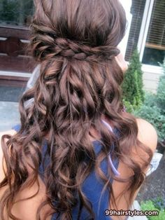 long curly brown hairstyle with braids - Hairstyle Ideas