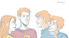 Ginny + the Twins making fun of Ron ;)