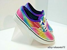 a152f4ed4eccbc Vans Girls Authentic Rainbow Sequin True White Sneakers US Kids Size 1.5   VANS  Fashionsneakers