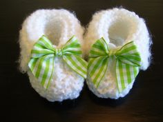 Delicate White Handmade Baby Booties by JCACreation on Etsy, $10.00