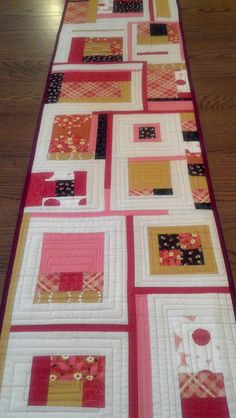 Modern, free pieced table runner by the_library_girl, via Flickr