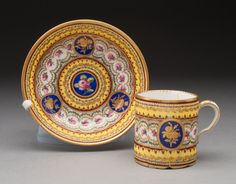 Cup and Saucer. Sèvres Porcelain Factory,1776. Soft paste. Polychrome enamels and gilding. Art Institute of Chicago.