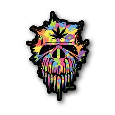 Candy Skull With Weed Leaf Sticker   Vinyl Stickers   Marijuana Stickers   Clear Stickers