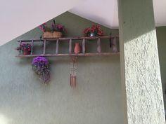 Riutilizzo di vecchia scala come scaffale porta piante da giardino!!