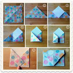 con un cuadrado de papel podemos hacer un bonito sobre personalizado.