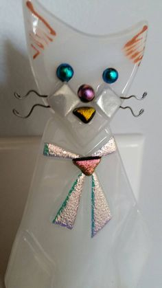 Whimsical Cat Fused Glass Night Light with by KelticFyre on Etsy