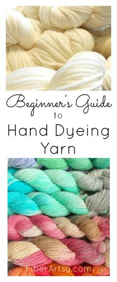 Beginner's Guide to Hand Dyeing Yarn. Learn how to dye your own beautiful yarn colorways. Beginner's Guide to Hand Dyeing Yarn Learn the basics of how to hand dye beautiful yarn! Where to find yarn, what type of dye to use and Weaving Projects, Crochet Projects, Knitting Projects, Craft Projects, Crochet Yarn, Knitting Yarn, Knitting Machine, Chrochet, Knitting Needles