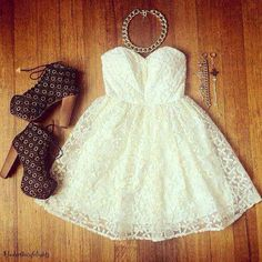 Creme lace dress and brown heels